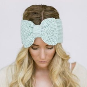 Mint Green Knitted Bow headwrap